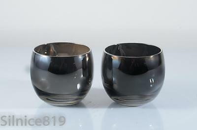 Mid-Century Modern Silver Fade  Roly Poly Glasses Set of 2