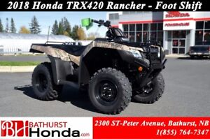 2018 Honda TRX420 Rancher Foot Shift! Efficient Engine! Easy Sta