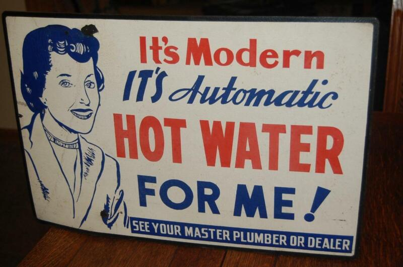 RARE VINTAGE MODERN AUTOMATIC HOT WATER PLUMBER STORE ADVERTISING CARDBOARD SIGN