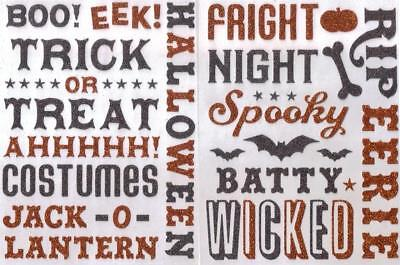 HALLOWEEN K&COMPANY Assorted Stickers SET of 2 SHEETS Scrapbooking WORDS & - K Halloween Words