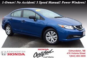 2014 Honda Civic Sedan DX Honda Certified! 5 Speed Manual! Power