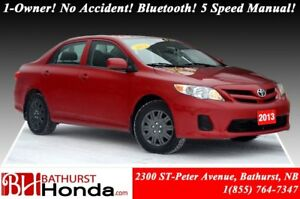 2013 Toyota Corolla CE 1-Owner! No Accident! Bluetooth! 5 Speed