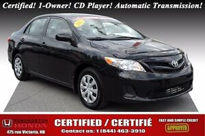 2012 Toyota Corolla CE Certified! 1-Owner! CD Player! Automatic