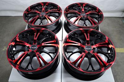 """17"""" Wheels Honda Civic Accord Corolla Aerio Scion IQ XB XA Black Red Rims 4 Lugs"""