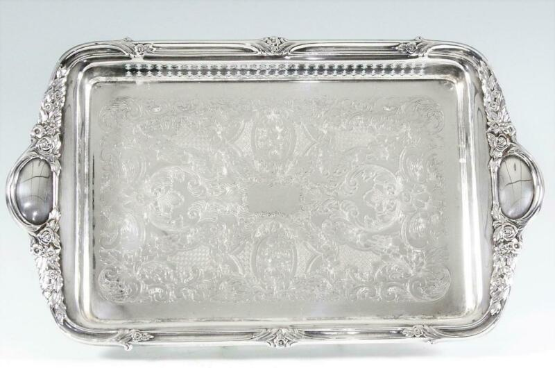 "Vintage Silverplated 15 1/4""  Gallery Tray by Sheridan"