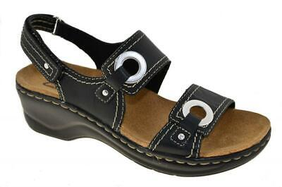 New Black Leather Women Sandals - NEW WOMENS CLARKS LEXI BIRCH BLACK LEATHER STRAP COMFORTABLE SANDALS 65688