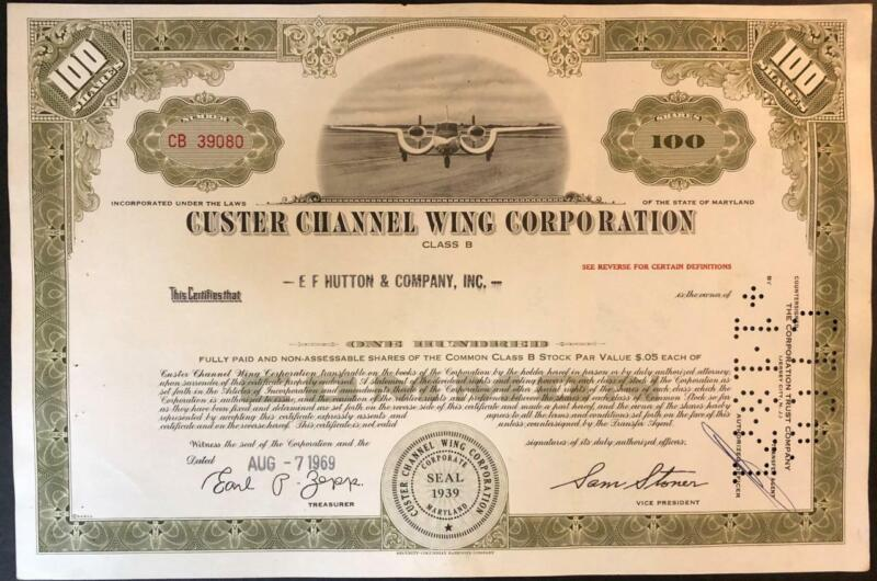 Custer Channel Wing Corporation 100 Shares Airplane Stock Certificate 1969