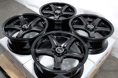 """17"""" Wheels 5x100 5x114.3 Honda Accord Civic Prelude Corolla Fusion Black Rims"""