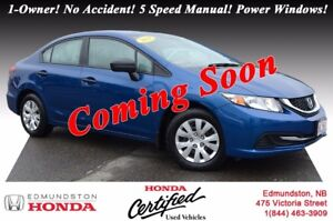 2014 Honda Civic Sedan DX Honda Certified! 5 Speed Manual! Power