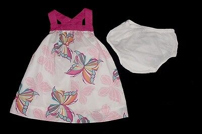 EUC Baby GAP Outlet Girls White & Pink Butterfly Dress & Diaper Cover 3-6 M  Baby Gap Outlet