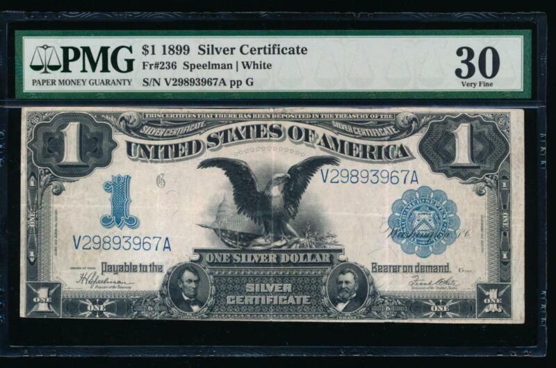 AC Fr 236 1899 $1 Silver Certificate PMG 30 BLACK EAGLE