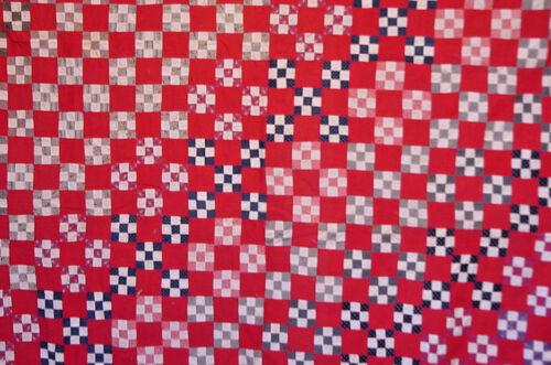 ANTIQUE RED WHITE AND BLUE ANTIQUE QUILT TOP c1880 PATRIOTIC AMERICANA