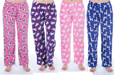 Kids Girls Brushed Fleece Warm Lounge wear Pyjama Bottoms Pants Age 5-13