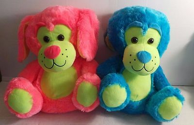 2 neon color pink yellow blue Peek-a-Boo plush stuffed BEARS large sitting 16""