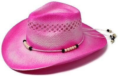 Women's Pink Straw Beaded Western Cowgirl Straw Summer Beach Hat (Cheap Cowgirl Hat)