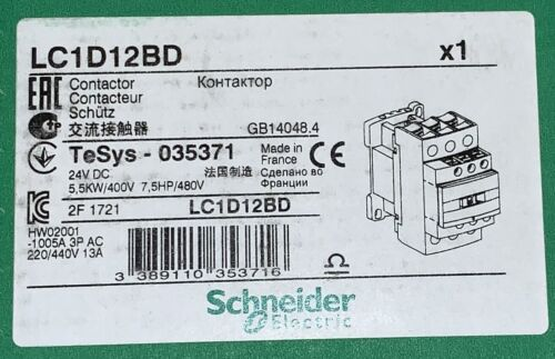 SCHNEIDER ELECTRIC LC1D12BD 24 VDC 12 AMP Contactor TeSys 035371