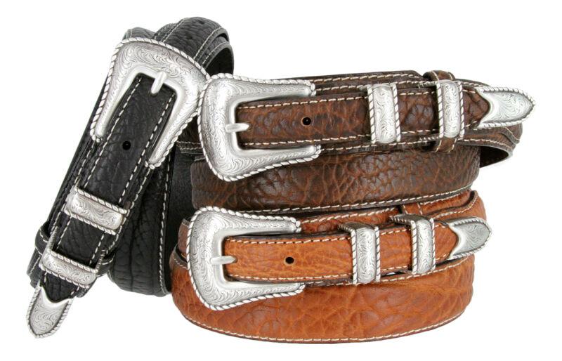 Western Silver Engraved Rope Edge Ranger Genuine Bison Leather Belt