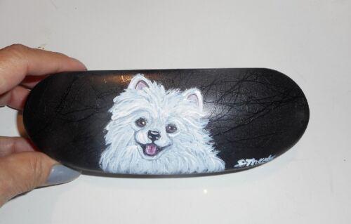 White Pomeranian Dog Hand Painted Hard Eyeglass Glasses Case