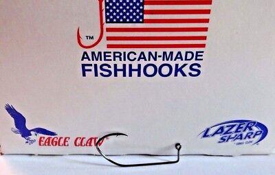 100 1//0 Eagle Claw 570BP Black Platinum Jig Hooks for Jig Molds