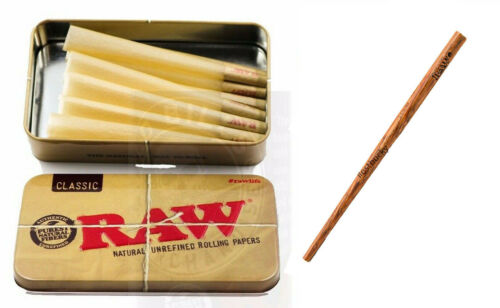 RAW Classic 98 special Size Pre-Rolled Cones (15 Pack) PLUS RAW POKER