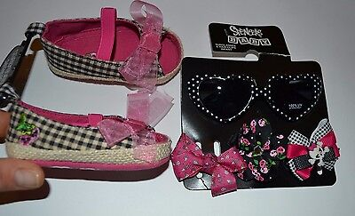 Spencer's Baby Sunglasses 100% UV Protection, 3 barrets Hair clips & Mary Janes
