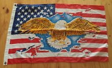 VINTAGE QUALITY RARE SMALL USA WITH EAGLE AMERICAN HOISTING FLAG Kambah Tuggeranong Preview