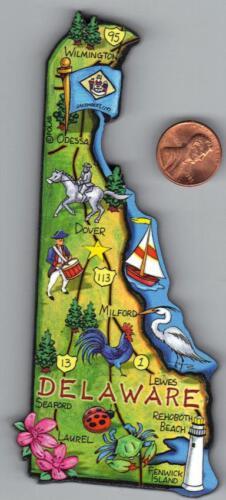 ARTWOOD  DELAWARE STATE  MAP MAGNET    DOVER  LAUREL  WILMINGTON  REHOBOTH BEACH