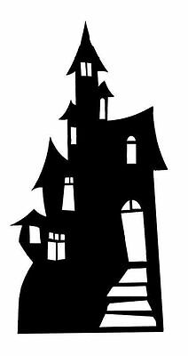 Small Spooky Haunted House Silhouette Cardboard Cutout / Standee Halloween - Halloween Monster Silhouettes