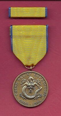 Army China Relief Expedition medal with ribbon bar 1900