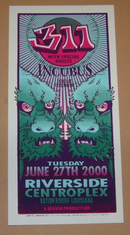 311 Incubus Baton Rouge Mark Arminski Poster Handbill Print 2000