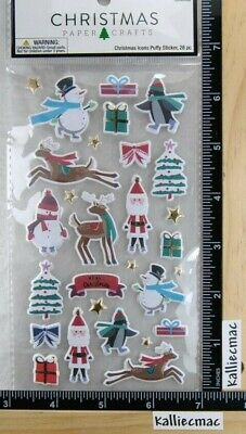 Christmas Paper Crafts CHRISTMAS ICONS PUFFY Stickers PENGUINS SNOWMEN SANTA  ()