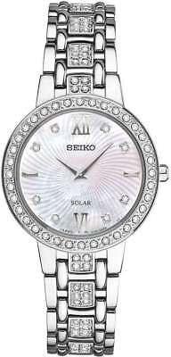 Seiko Women's Solar Swarovski Crystals w/ Mother-of-Pearl Dial Watch SUP359