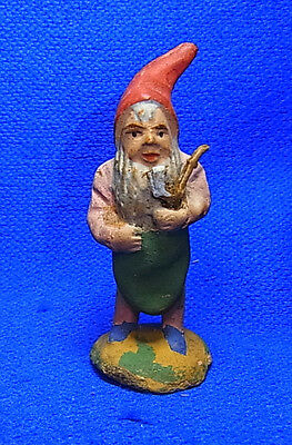 Vintage German Erzgebirge Plaster Santa Gnome / Dwarf with Pipe #N1