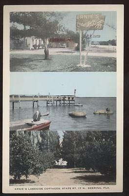 For sale Postcard SEBRING FL Ernie's Lakeside Cottages 1930's