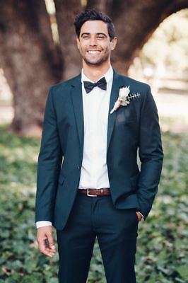 Deep Green Slim Fit Groom Tuxedos Best Man Suit Groomsmen Wedding 2 Piece (Best Slim Fit Blazers)