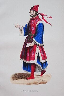 GRAVURE-GENTILHOMME ALLEMAND HERMINE XVe-COSTUMES MOYEN AGE 1847-ANTIQUE  - Hermine Costume