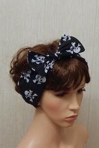 Goth skull and bones self tie head scarf headband Gothic retro style hair bow