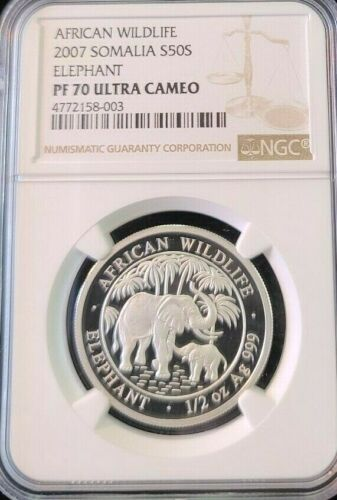 2007 SOMALIA SILVER 50 SHILLINGS S50S ELEPHANT NGC PF 70 ULTRA CAMEO PERFECTION