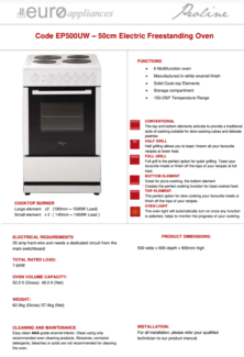 FREE STANDING ELECTRIC OVEN- EUROSTYLE EP500UW