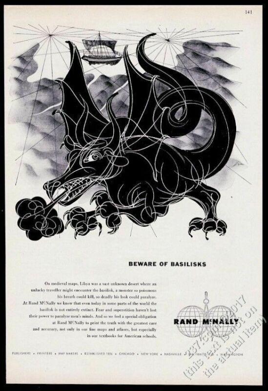 1955 basilisk monster dragon art Rand McNally travel vintage print ad