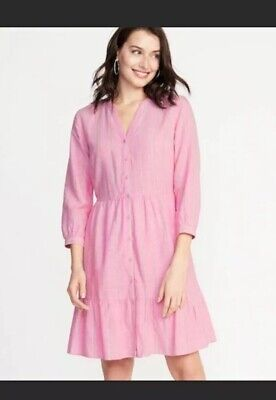 New OLD NAVY DRESS Shirt Waist Size S Pink Stripe Linen - Pink Stripe Dress Shirt