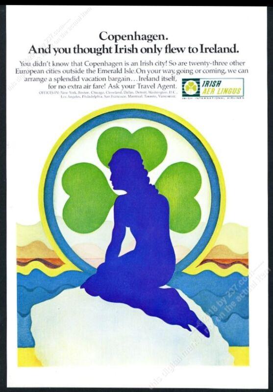 1969 The Little Mermaid sculpture art Aer Lingus vintage print ad