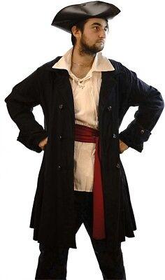 Victorian-Steampunk-Pirate-Buccaneer Deluxe WOOL BLACK FROCK COAT Men's (Black Pirate Coat Kostüm)