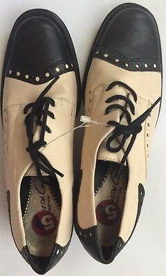 "Women's Kenneth Cole New York SIDE SADDLE Black Oxford 2"" Chunk Heel sz 5 $150 Kenneth Cole Oxford Heels"