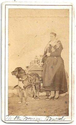 CDV of a Woman and a Dog Drawn Milk Wagon May 1873 ~~ Brussels