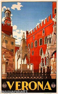 Verona Italy Vintage Art Travel Advertisement Poster Picture Print