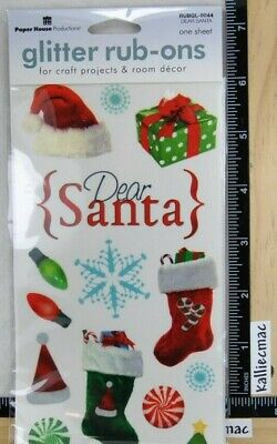 Paper House DEAR SANTA Glittered Rub-Ons Stickers PRESENTS CANDY TREE STOCKING Paper House Rub