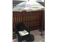 4 x green plastic garden chairs / seats , parasol , seat pads & parasol base furniture