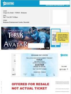 4 x tickets for Cirque De Soleil - Brisbane 7th Oct 8pm Show