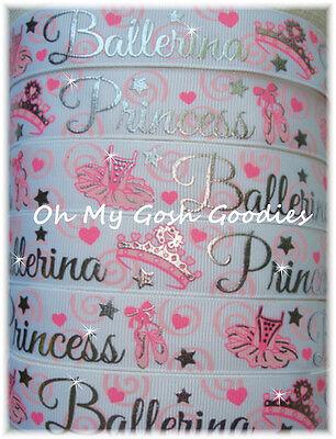 (7/8 SWIRL BLING BALLERINA PRINCESS BALLET TUTU GROSGRAIN RIBBON 4 HAIRBOW BOW)